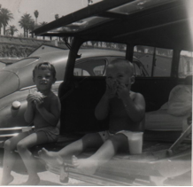 Lunch time at Santa Monica's Incline Beach circa 1958