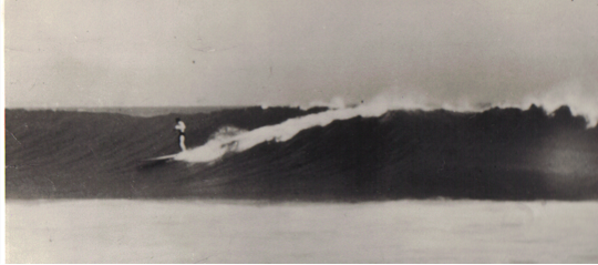 Bob Simmons headed toward the pier on a BIG day at Malibu in 1948