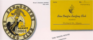Nixon's honorary membership card and decal