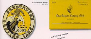Nixon's honorary membership card and decal