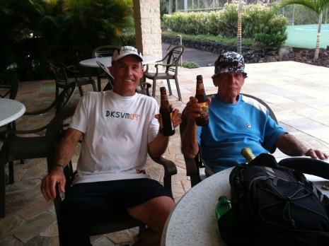 Never one to miss an ice cold beer after a round of tennis.