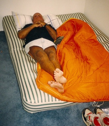 Dad sneaking in a nap just hours before the wedding bells ring!